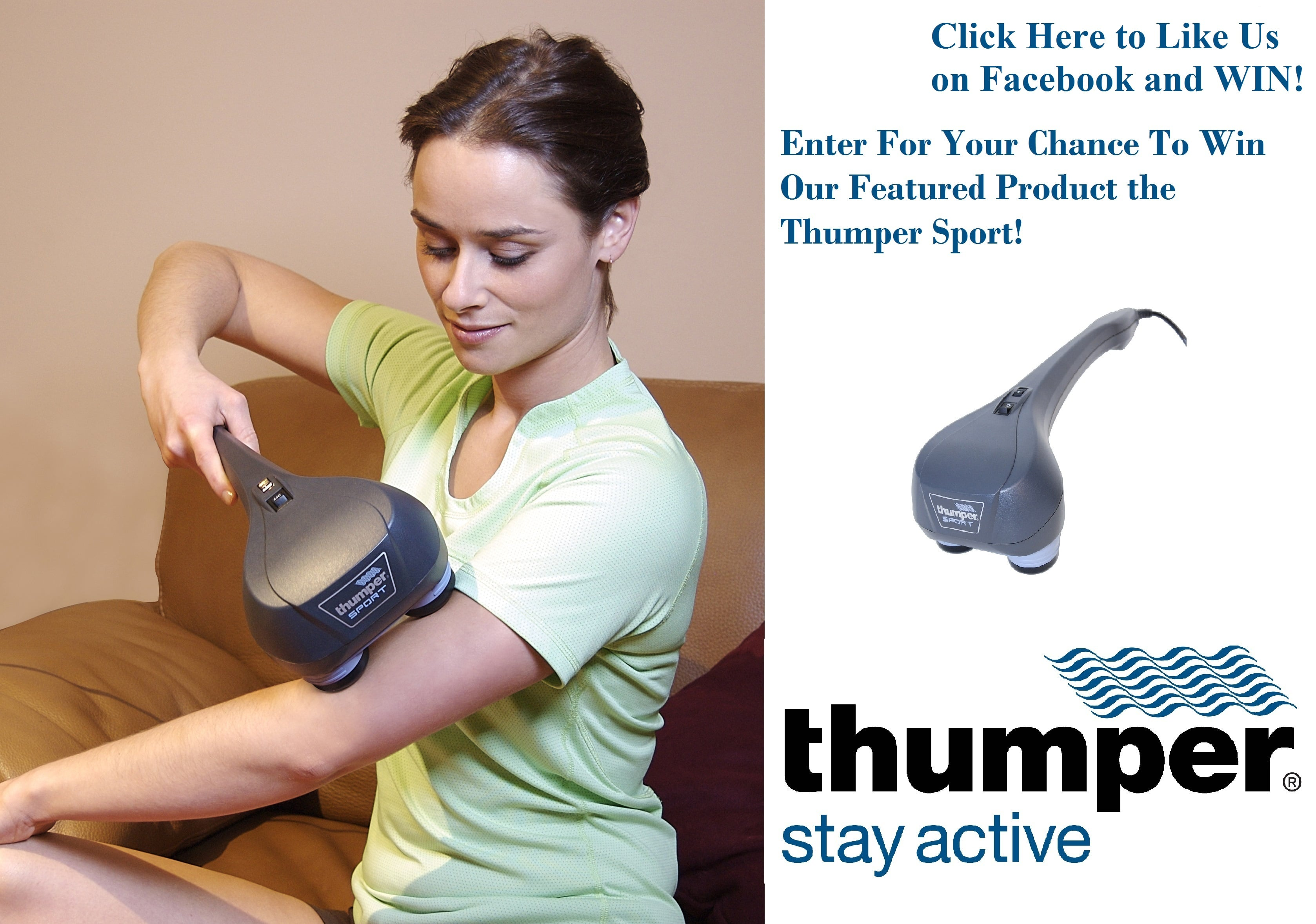 Thumper Sport Percussive Handheld Massager The Thumper Sport is the massager of choice for home users. If your shoulders are stiff after your initial round of golf at the beginning of the season, if your legs are burning from a bike ride with too much vertical climb, or if you simply spent too much time on your feet at the sales counter, the.